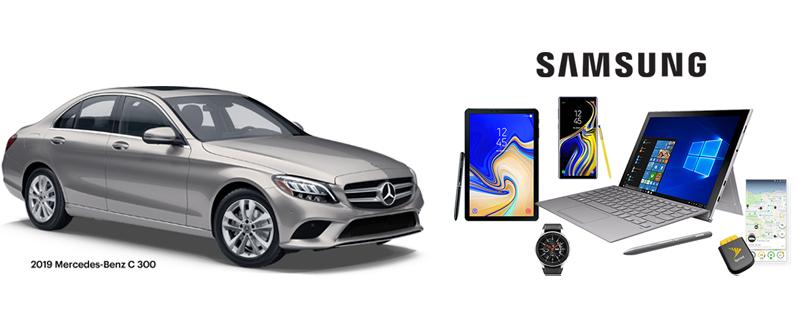 Un Mercedes-Benz C 300 2019, Samsung - Una Galaxy Note9, Tab S4, Galaxy Watch y Galaxy Book 2