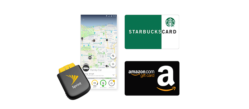 A Sprint Drive, a Starbucks gift card, and an Amazon.com gift card