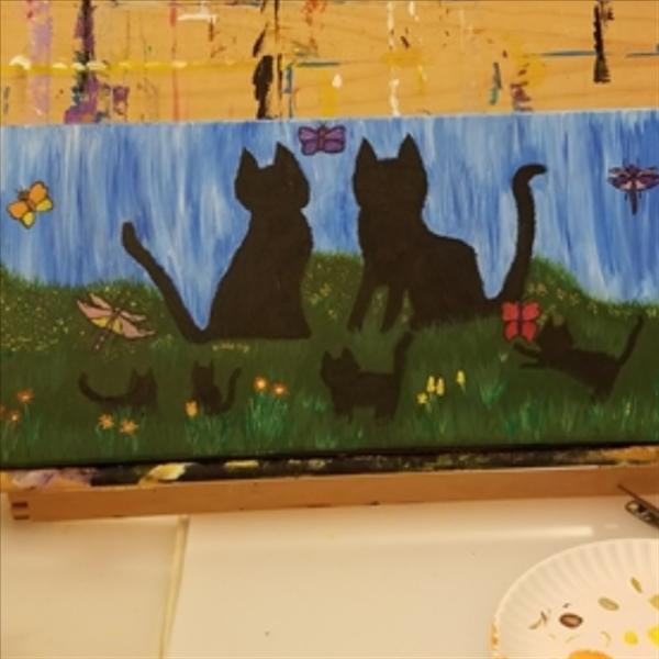 Kitties, butterflies and dragonflies!